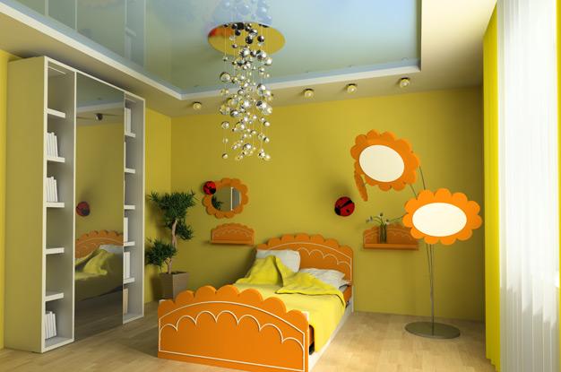 Дизайн потолков детской спальни